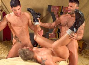 gay muscle porn clip: Behind The Big Top - Leo Domenico & Logan Vaughn & Rogan Richards, on hotmusclefucker.com