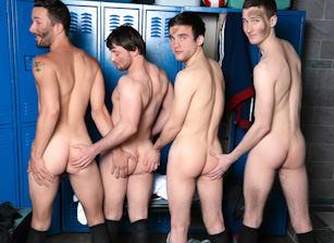 gay muscle porn clip: Rowdy Sweaty Boys - Andrew Collins & Isaac Hardy & Josh Pierce & Scott Harbor, on hotmusclefucker.com