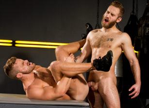 gay muscle porn clip: Cock Fight! - Landon Conrad & Shawn Wolfe, on hotmusclefucker.com