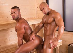 gay muscle porn clip: Bathhouse Ballers - Micah Brandt & Sean Zevran, on hotmusclefucker.com