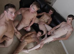 gay muscle porn clip: The Dream Team - Aaron Skyline & Christian Wilde & Dylan McLovin & Justin Ryder & Marcus Mojo, on hotmusclefucker.com